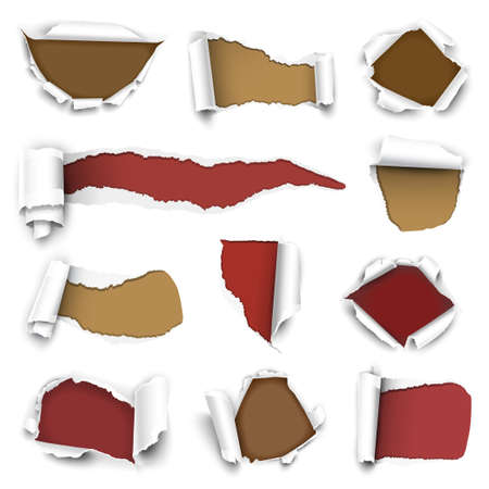 roll paper: Сollection of torn paper. Vector illustration