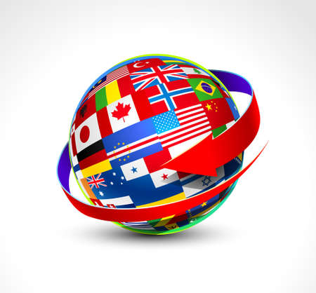 banderas del mundo: Banderas del mundo esfera. Ilustración vectorial Vectores