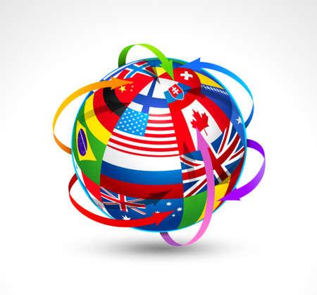 flags world: Banderas del mundo esfera. Ilustraci�n vectorial Vectores