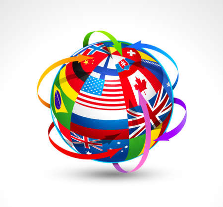 위도: World flags sphere. Vector illustration