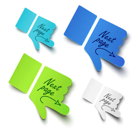 tacks: illustration paper hands. Message label Illustration