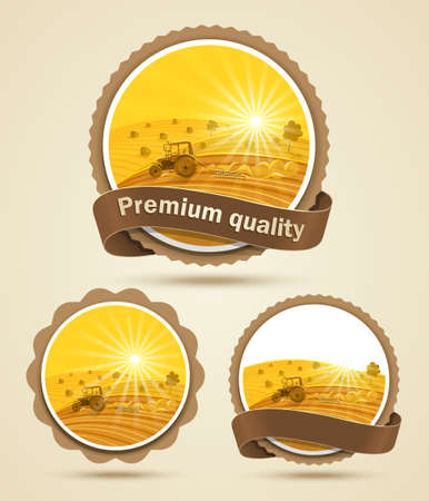 yellow tractor: Cereal etiqueta cosecha Vectores