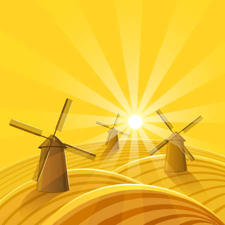 Windmills at sunset background Stock Vector - 14471589