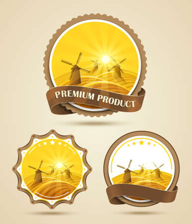 traditional windmill: Set of windmills labels  Illustration
