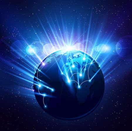 the universe: El planeta Tierra en los brillantes rayos de luz. Vector Vectores