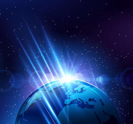 science fiction: Planeet aarde in de heldere stralen van het licht