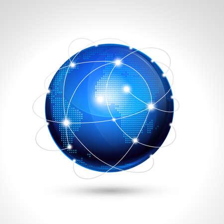 global map: World globe, network icon.