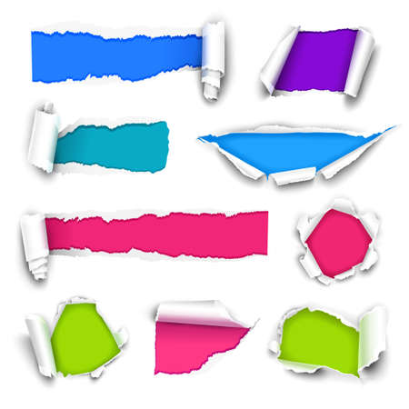 torn paper edge: Collection of color paper.  Illustration