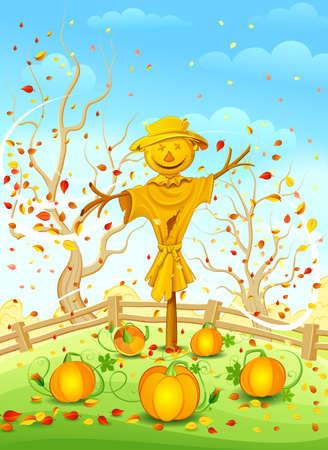 autumn scarecrow: Scarecrow in garden  Vector illustration