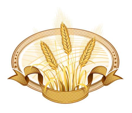 flour mill: Wheat ears  Vector Illustration