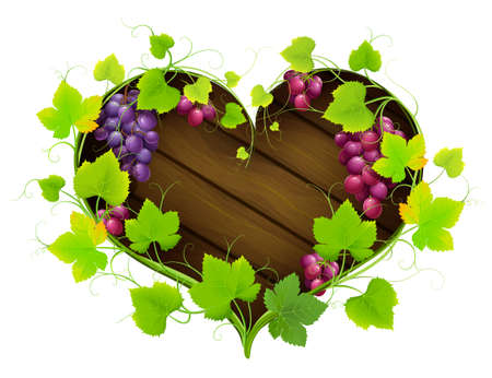 Grapes with leaves in the form of heart. Vector Vector
