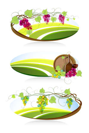 vitis: Winemaking emblems and labels.  Illustration