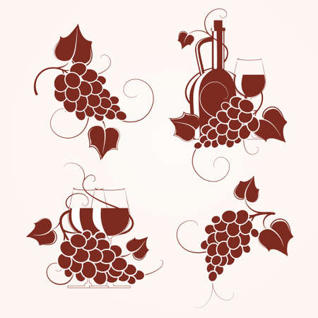 Set of grape design element.  Vector