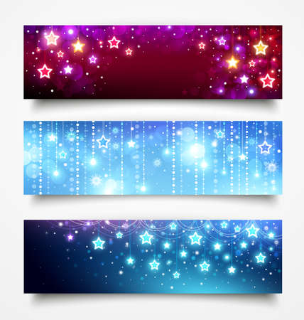 Christmas banners with stars Vector