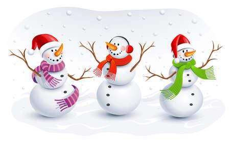 bonhomme de neige: Bonhommes de neige dr�les Illustration