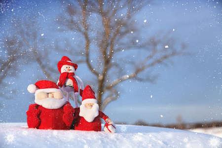 Christmas Snowman and Santa Stock Photo