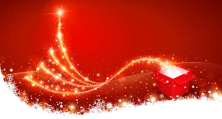 Christmas background with magic box and Christmas Tree Vector