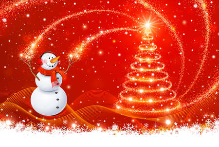 Snowman with Christmas tree Vector