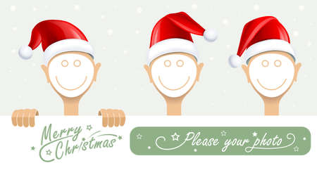Frame for face with santa cap Vector