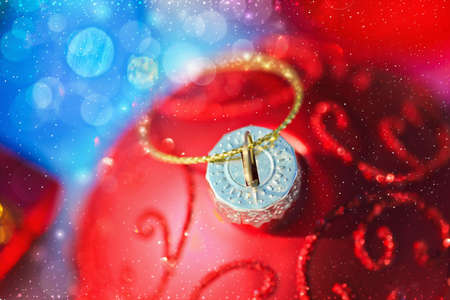 Christmas background with red ball Stock Photo - 16797338