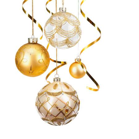 adornos navideños: Navidad bolas de oro Foto de archivo