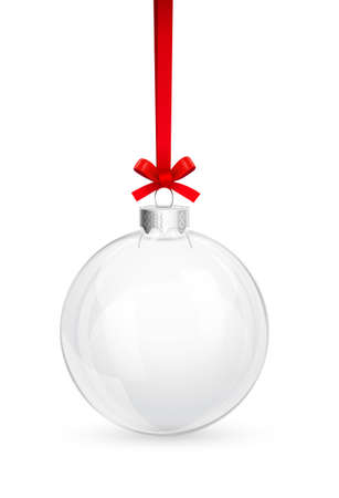 christmas ball isolated: Christmas glass ball with red bow Illustration