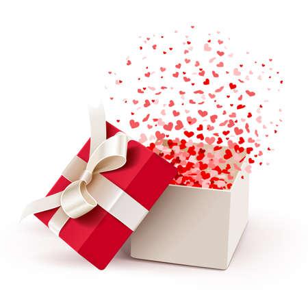 Open geschenk met vliegende harten
