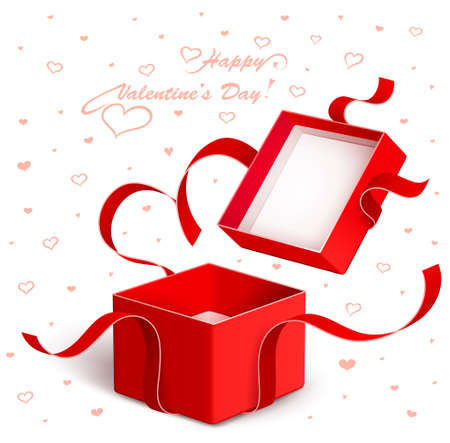 Open gift box with red ribbon abgerissen