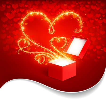 Open box with bright hearts Vector