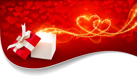 Open gift box with magic hearts Stock Vector - 17296562