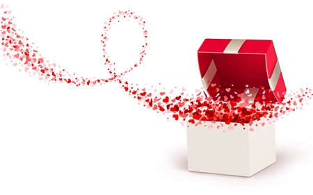 open gift: Gift box with hearts