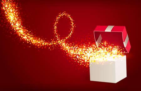 magic box: Open gift box with magic hearts Illustration