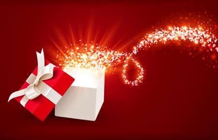 마법의 마음을 열기 선물 상자 일러스트