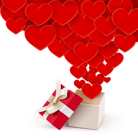 red gift box: Open box with flying hearts