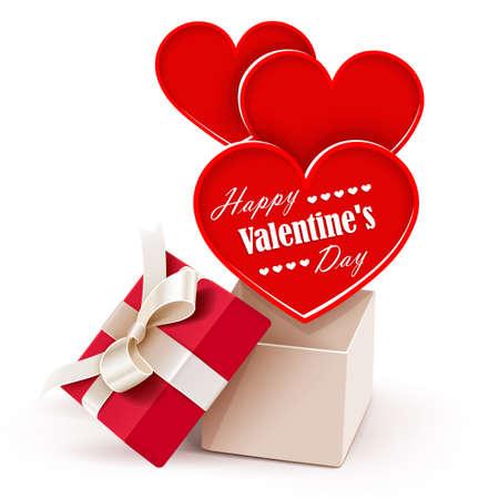 Geschenkbox mit großen Herzen