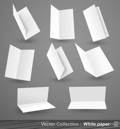Collection of white paper isolated on gray Stock Vector - 17965476