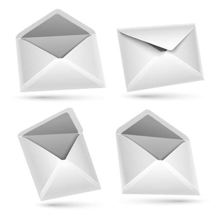 Collection envelopes isolated on white Stock Vector - 17965479