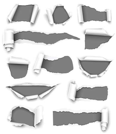ripped paper: Collection of gray paper  Illustration