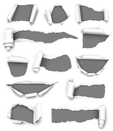 Sammlung von grauem Papier Vektorgrafik