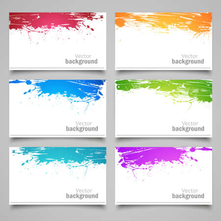 spilled paint: Set of colored cards