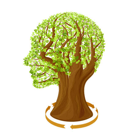 arbol de problemas: Un árbol en la forma de una cabeza humana