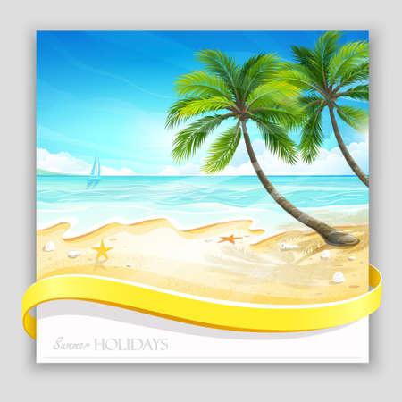 verano: isla tropical de fondo Vectores