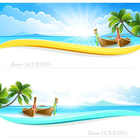 Paradise Island backgrounds Vector