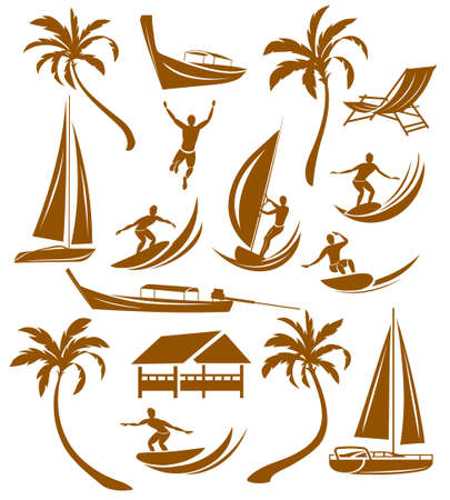Summer silhouettes, vacation Vector