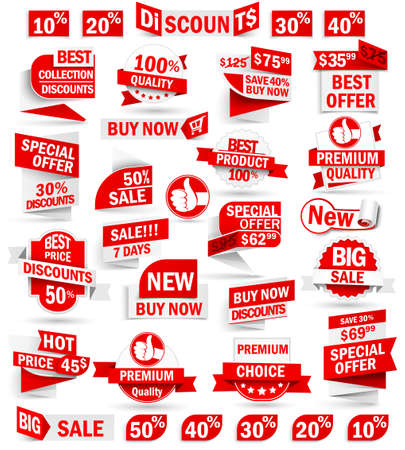 discount banner: Set of stickers and banners Illustration