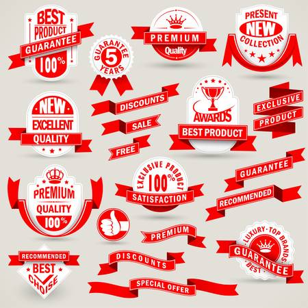 Premium set of labels and ribbons Vector