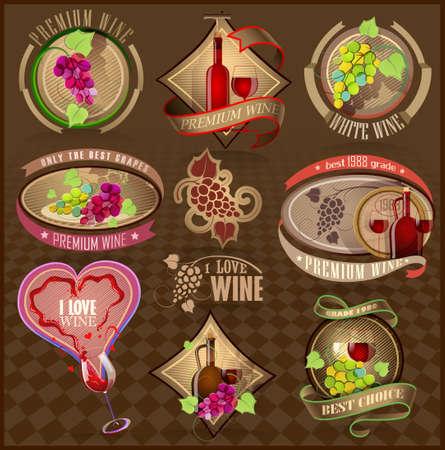 vinho: Jogo de etiquetas retro para o vinho