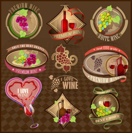 wine bottle: Set of retro labels for wine