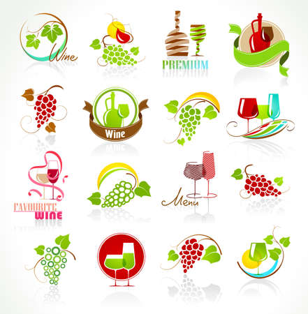 wine growing: Collection of wine icons