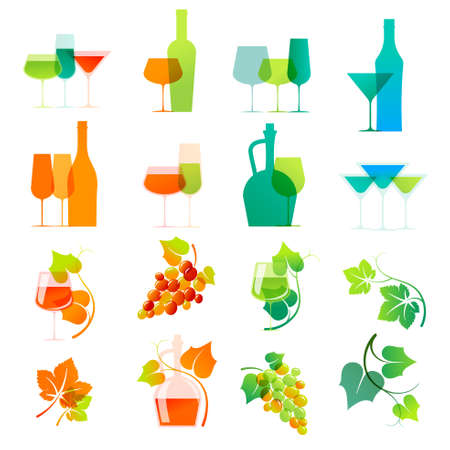 wine growing: Colorful wine icons